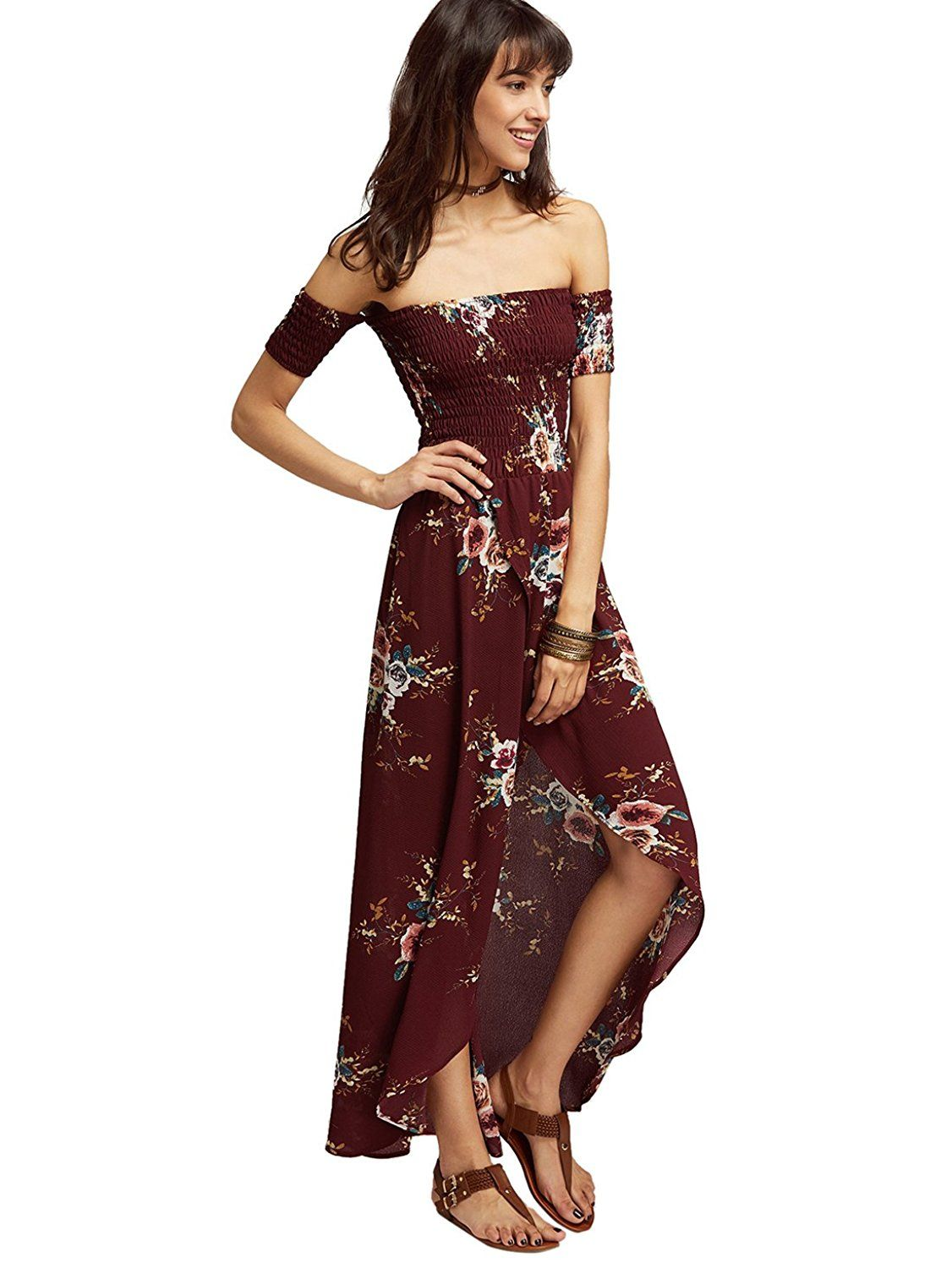1a8eeb5e2f14 Romwe Women s Off Shoulder Floral Casual Short Sleeve Split Beach Maxi  Dress Burgundy M at Amazon Women s Clothing store