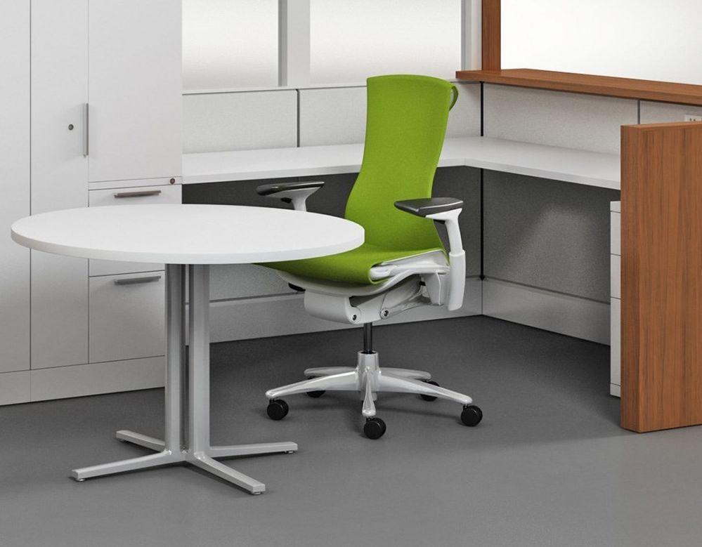 Herman Miller Embody Office Chair White Frame Titanium Base Green
