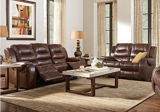 Veneto Brown Leather 5 Pc Living Room with Reclining Sofa | Living ...