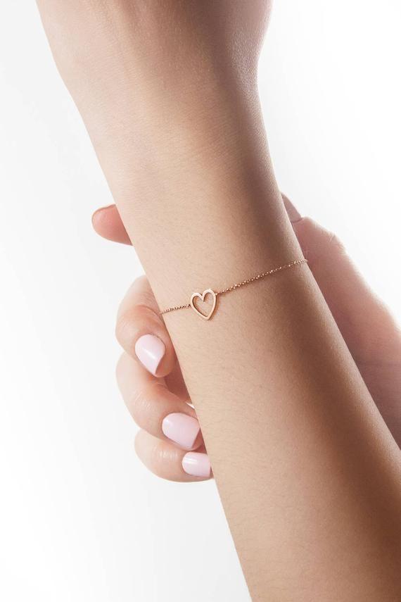 Pulsera de corazón de oro, pulsera de oro rosa de 14 quilates, marco de corazón de oro macizo, pulsera de amor delicada, regalo romántico para ella, encanto de corazón delicado