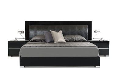 Italian Modern Black Leather Queen Size Bed Frame With Led Light
