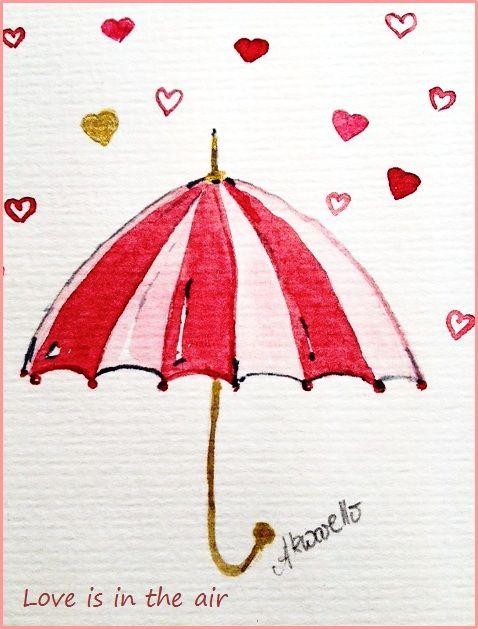 Wedding congratulation by Akwarello #Hochzeit #Glückwünsche #love #heart #Regenschirm #umbrella #Liebe