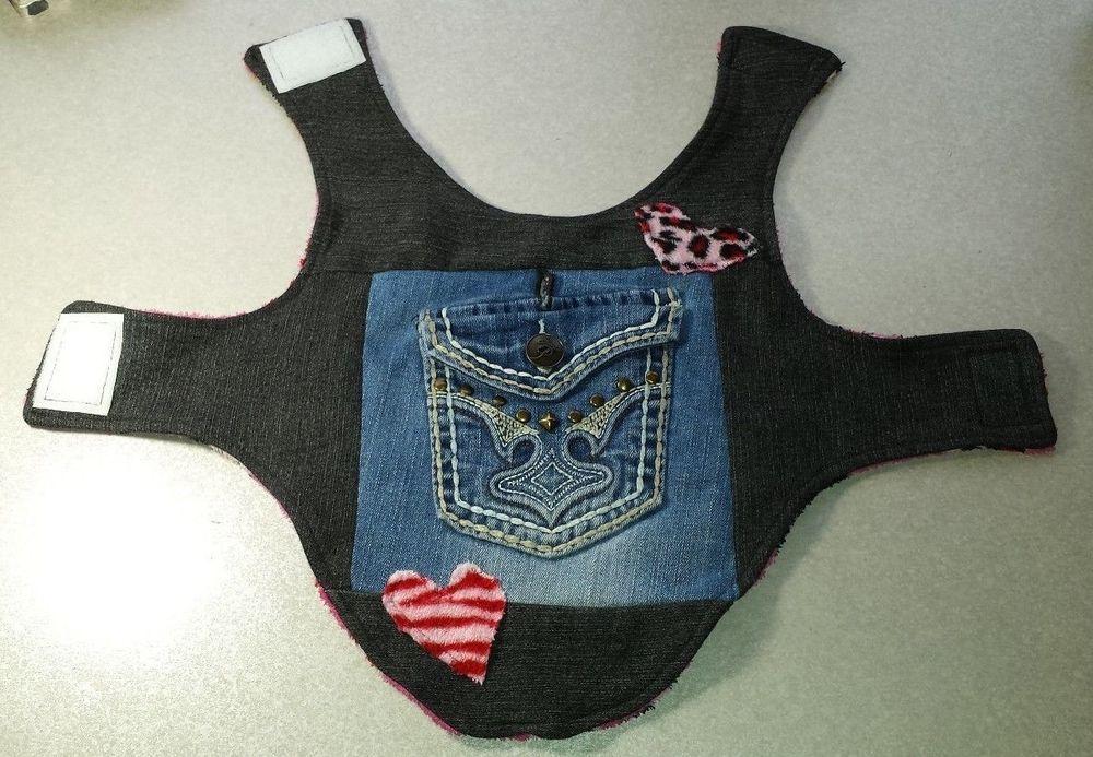Dog Cat Pet Pink Hearts Denim Blue Jean Pocket Jacket Harness Hole Size S New #Handmade