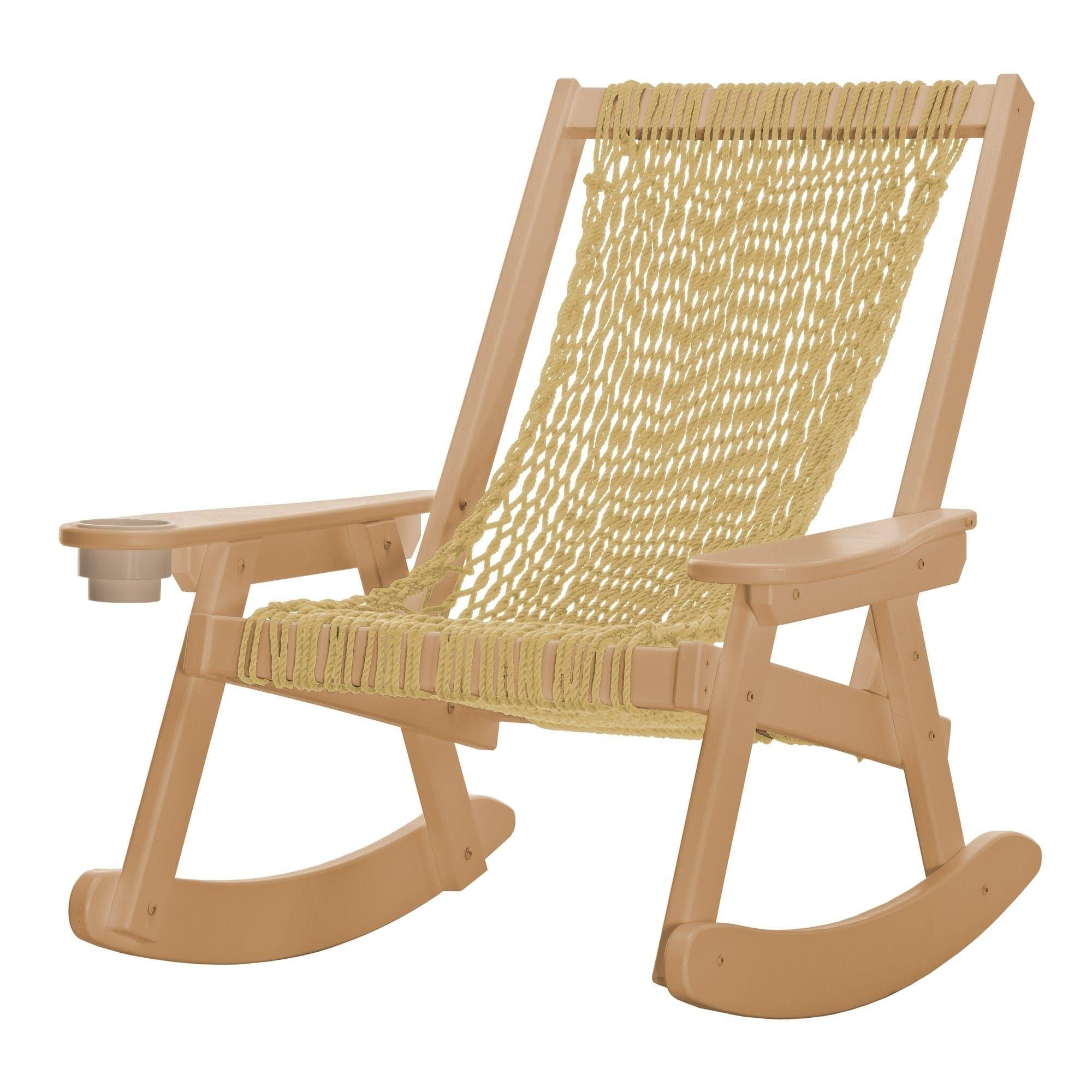 Pawleys island hammocks coastal duracord cedar rope rocker brown