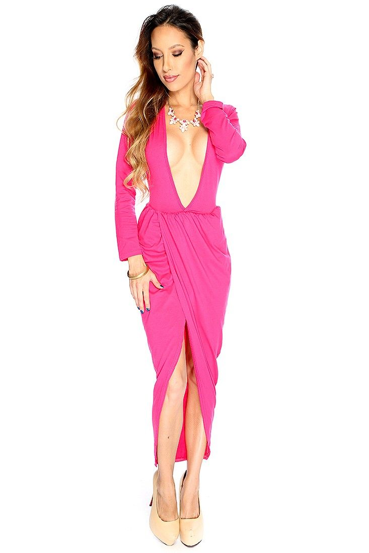 Sexy fuchsia long sleeve plunging v neck uneven hemline party dress