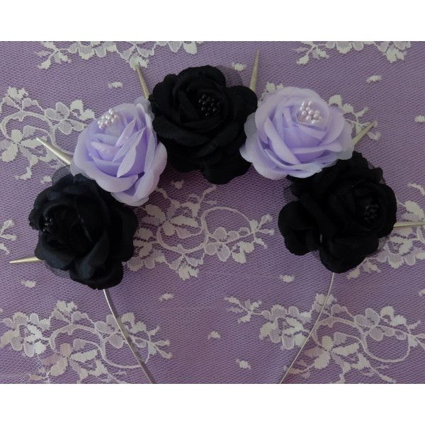 Maleficent Flower crown- Black and purple fabric roses with center... ( 20)  ❤ liked on Polyvore featuring accessories 6566f3082ea