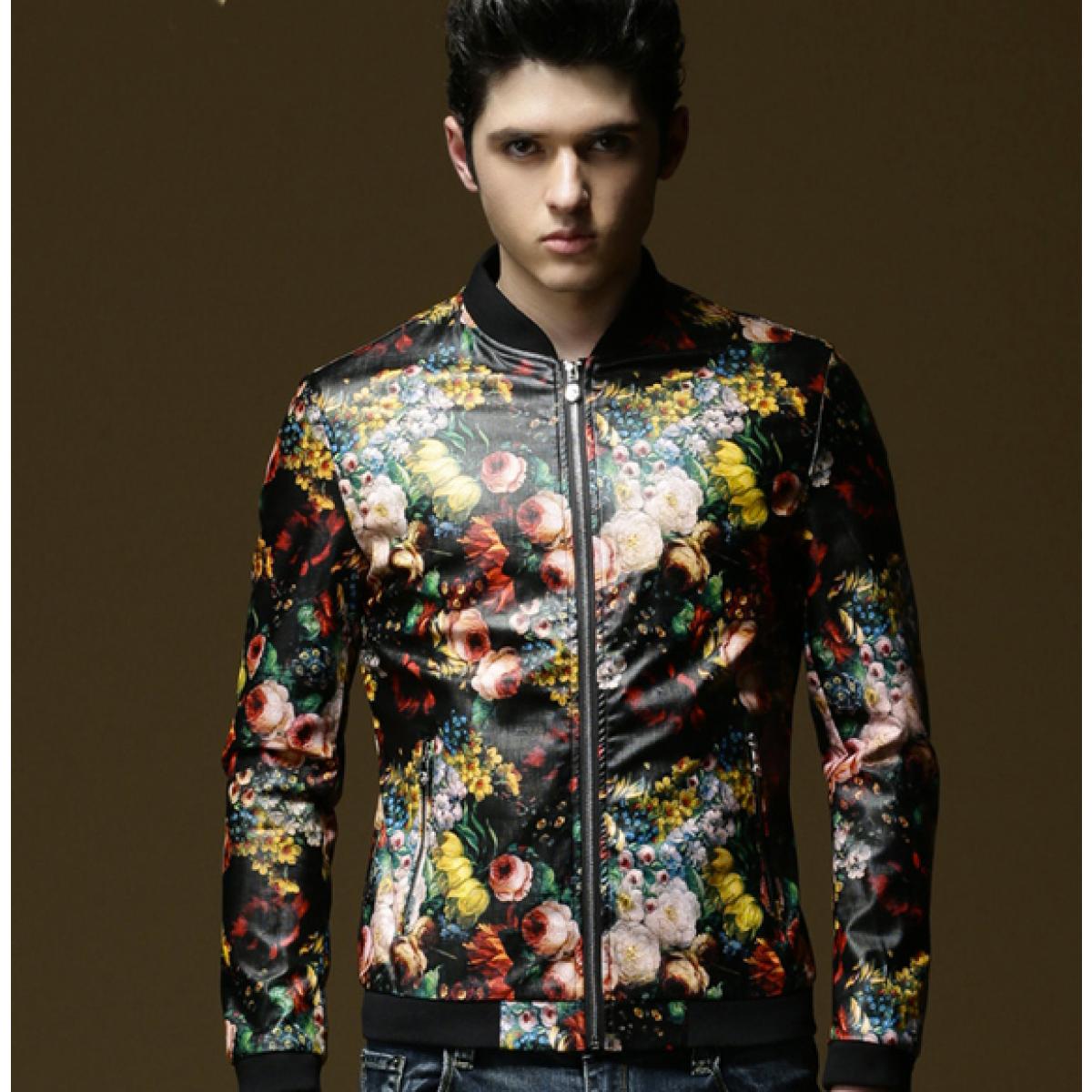 blouson motif floral homme