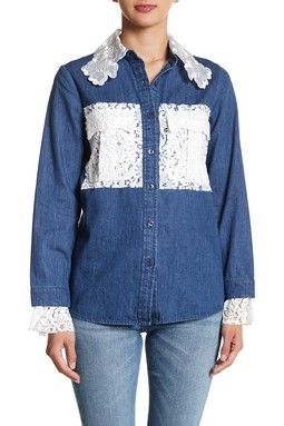 Contrast Lace Denim Blouse