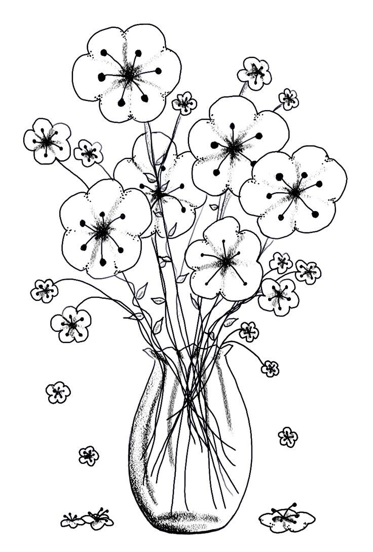 Coloring pictures of flowers and trees - Vase Of Flowers This Pin Takes You To A Whole Bunch Of Free Printables But I Cannot Find This Particular One To Pin Straight To It S Image