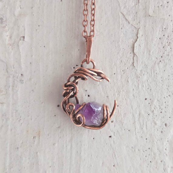 Photo of Crescent Moon Rough Stone Amethyst Necklace Totem Purple Crystal Pendant Copper …