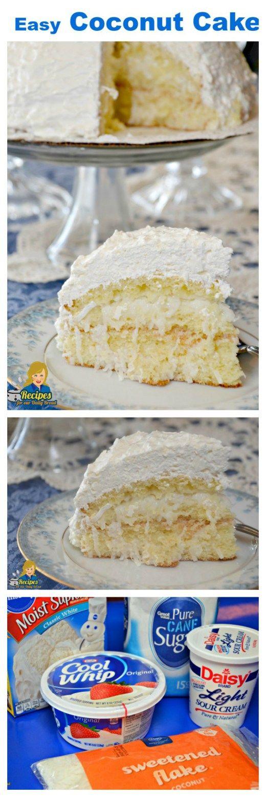 Easy Coconut Cake 5 Simple Ingredients For Scrumptious Cake Recipe Coconut Recipes Desserts Sour Cream Coconut Cake