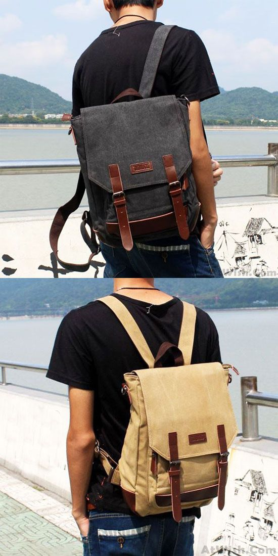 Leisure Splicing PU Belts Flap Travel Square Rucksack Laptop Bag School  Canvas Backpack for big sale!  backpack  Bag  college  student  travel   square   ... b9670f4dcb