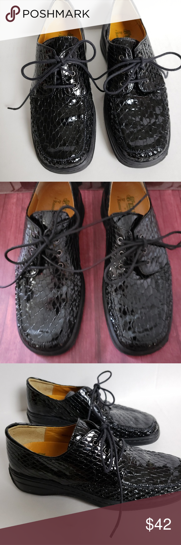 23f3ef33a Helle s Black Patent Comfort Shoes by Romu s Black Patent Snakeskin Comfort  Shoe. These are like new and look like they haven t been worn.