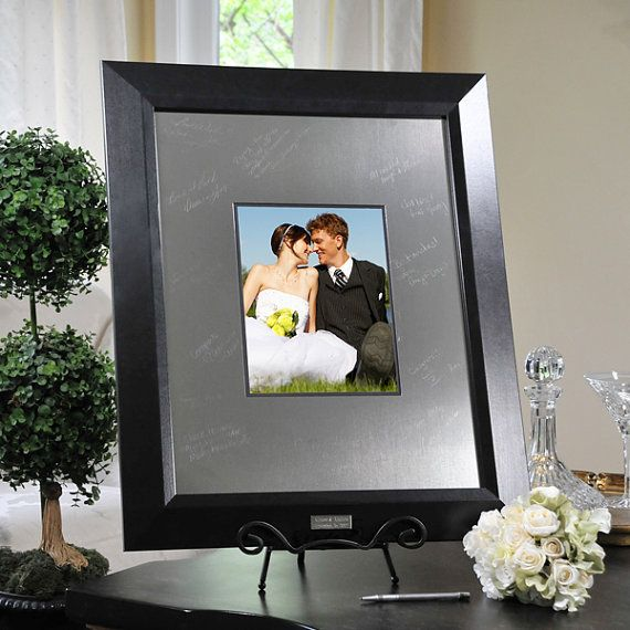 Personalized Contemporary Signature Picture Frame with Engraved Photo Mat on Etsy, $140.00
