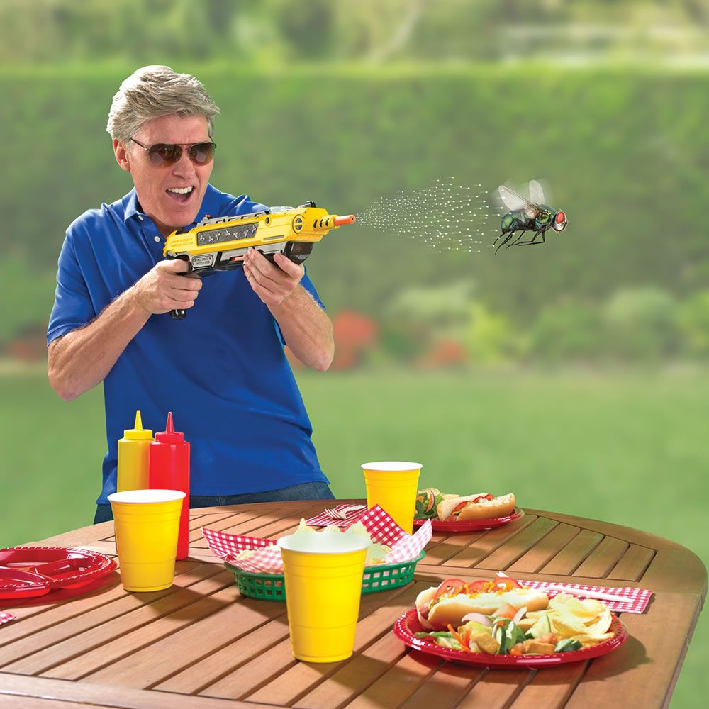 The Bug Blasting Blunderbuss - This device blasts flies to oblivion with a lethal spray of common table salt.