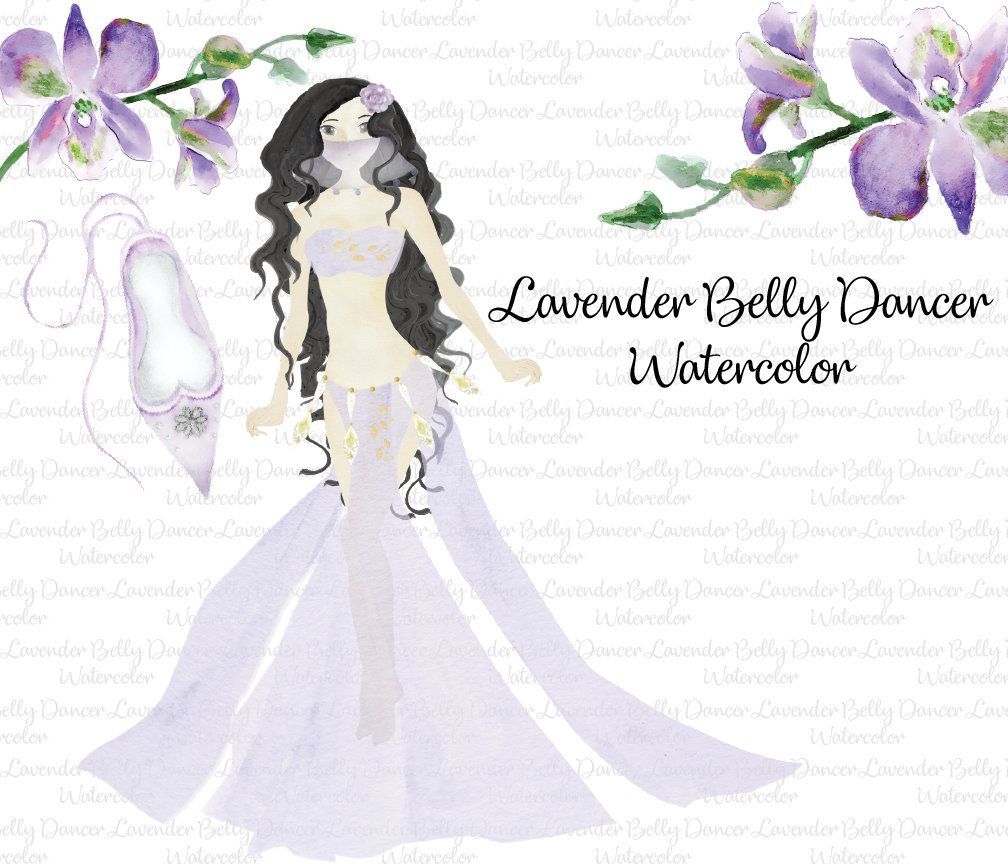 belly dancer girl lavender orchid clip art watercolor clipart arabic princess eyptian clip art by prettydigidesigns on etsy [ 1008 x 864 Pixel ]