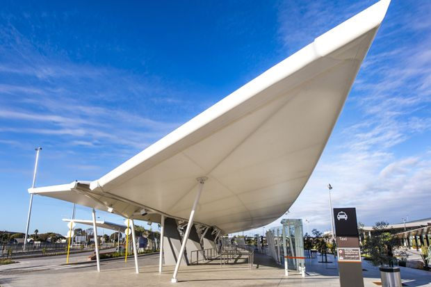 Woods Bagot designs floating winged canopies for Perth International Airport & Woods Bagot designs floating winged canopies for Perth ...