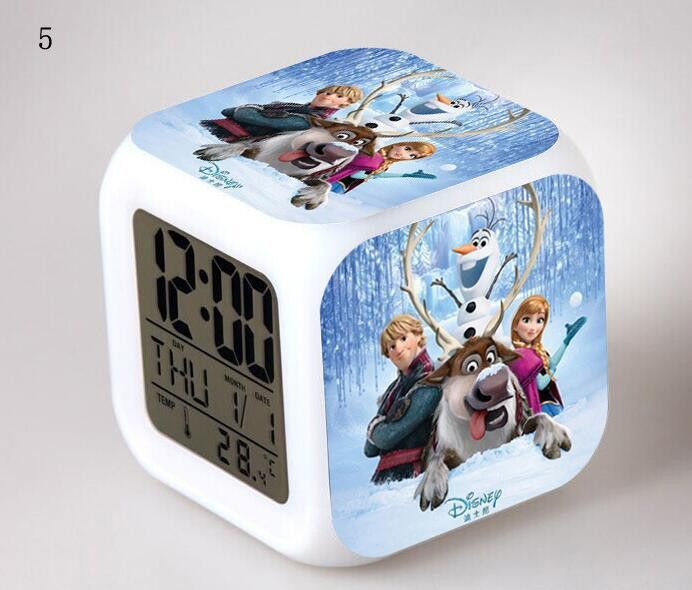 7 Color Flash LED Digital Alarm Clock Frozen Light Bedroom Clocks With Time  Date Week And