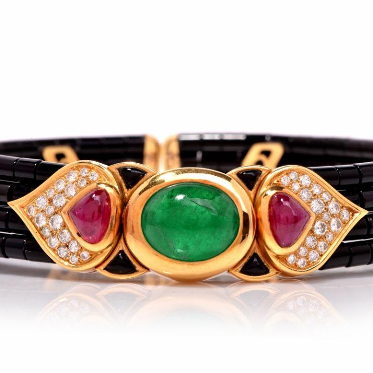 Marina B Cabochon Onyx Emerald Diamond Choker Necklace 4