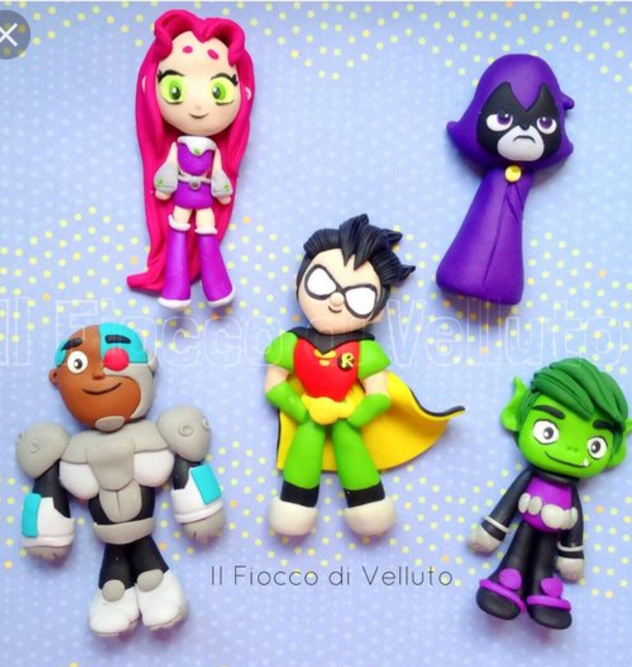 Teen Titans clay pendants