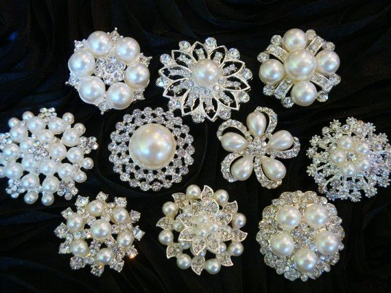 10 pcs ALL Mixed Rhinestone Pearl Buttons   Brooches - wedding   hair    dress   garment accessories.  24.95 3d26176e4d65