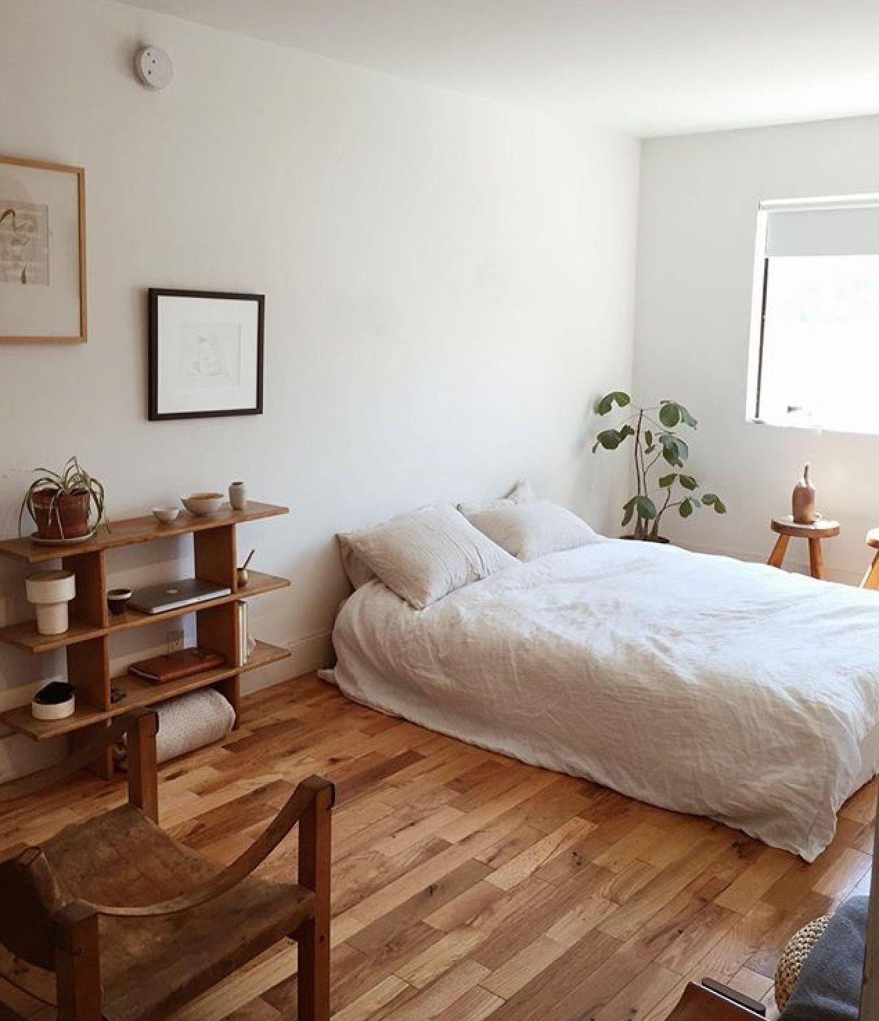 Pretty simple room, white and wood Minimalist bedroom
