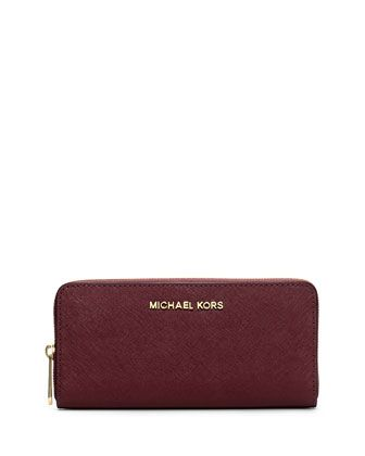 c4847c4c7c3d72 Jet Set Zip-Around Continental Travel Wallet, Merlot by MICHAEL Michael Kors  at Neiman Marcus.