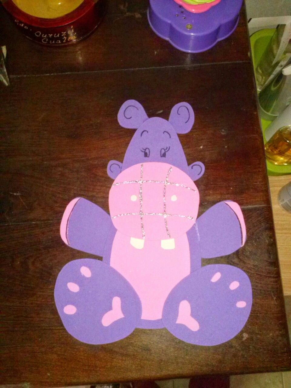 Hipopótamo en Goma eva para tapa de cuaderno