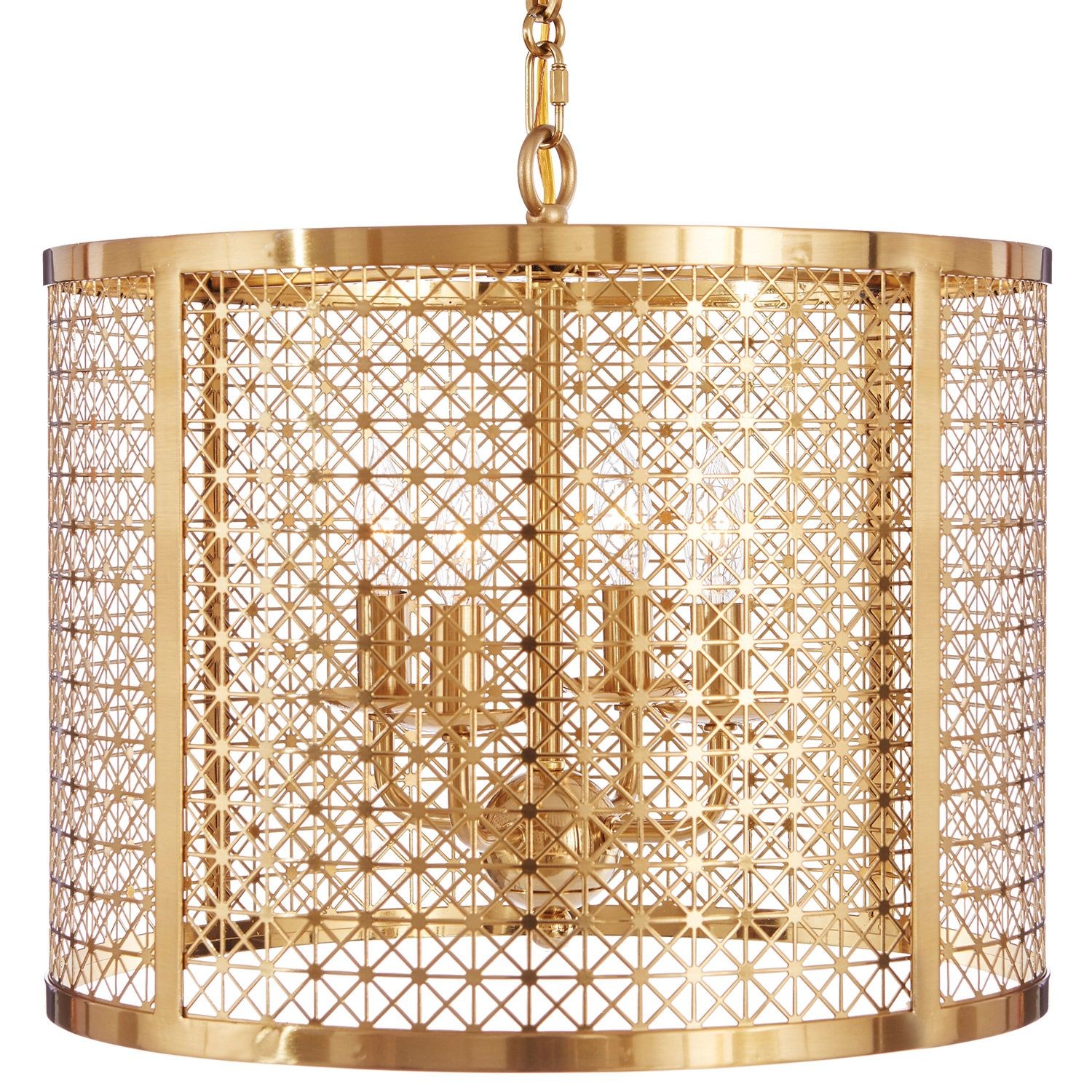 AG Hom Mod X Antique Brass Drum Chandelier Zinc Door
