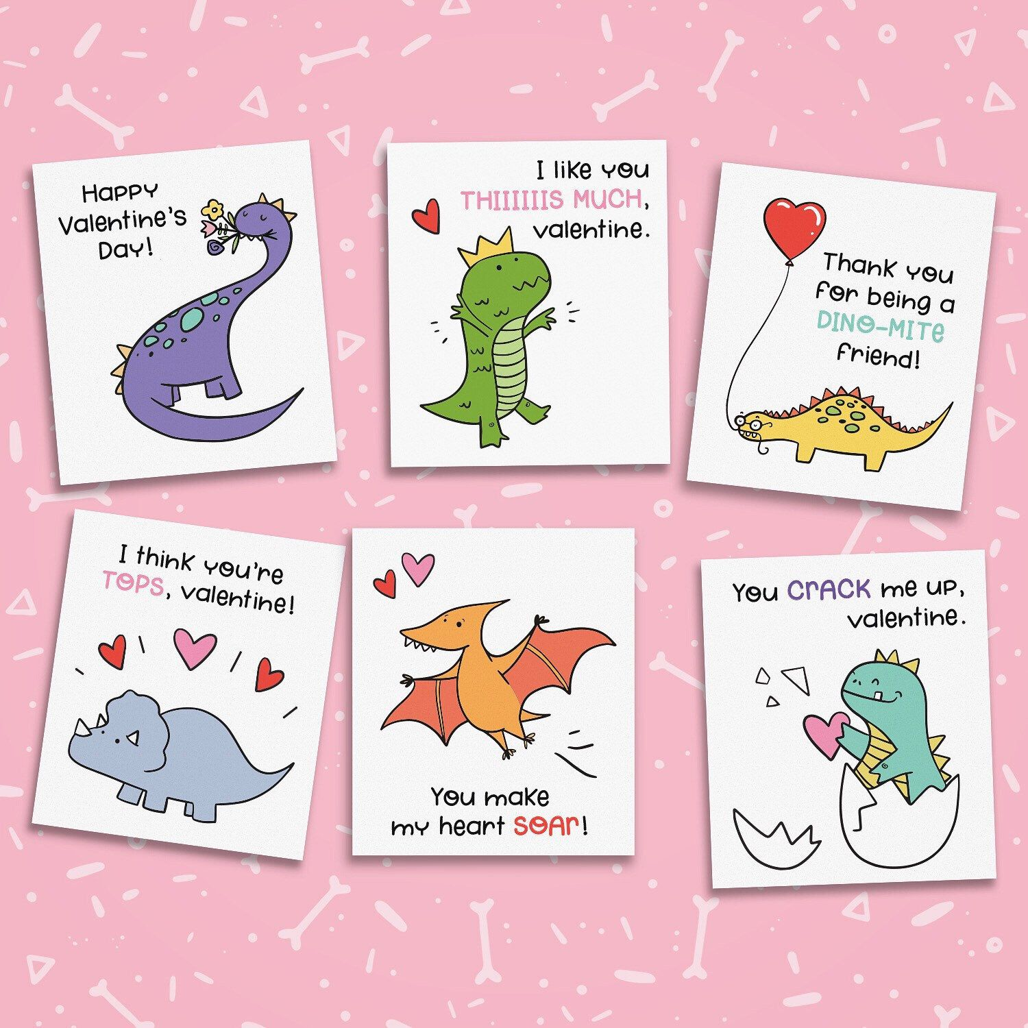 printable dinosaur valentines cutout cards for kids