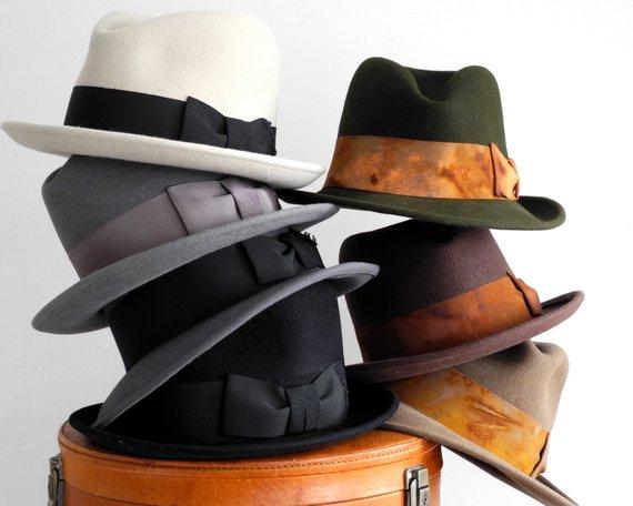 Bowler Hat Open Crown Mens Felt Fedora Hat Handmade Custom 1920s Hat 1930s  Hat 1940s Hat Winter Acce 81e65916da1