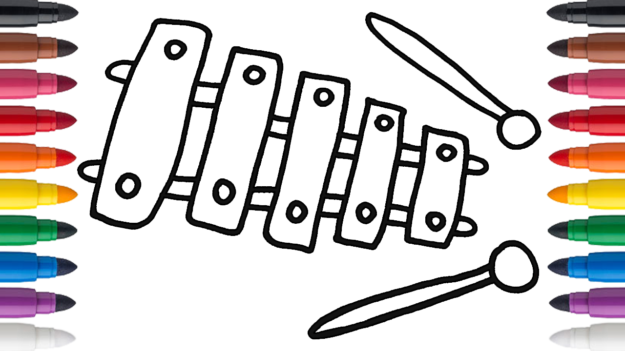 How To Draw And Color An Xylophone Drawings Draw Color