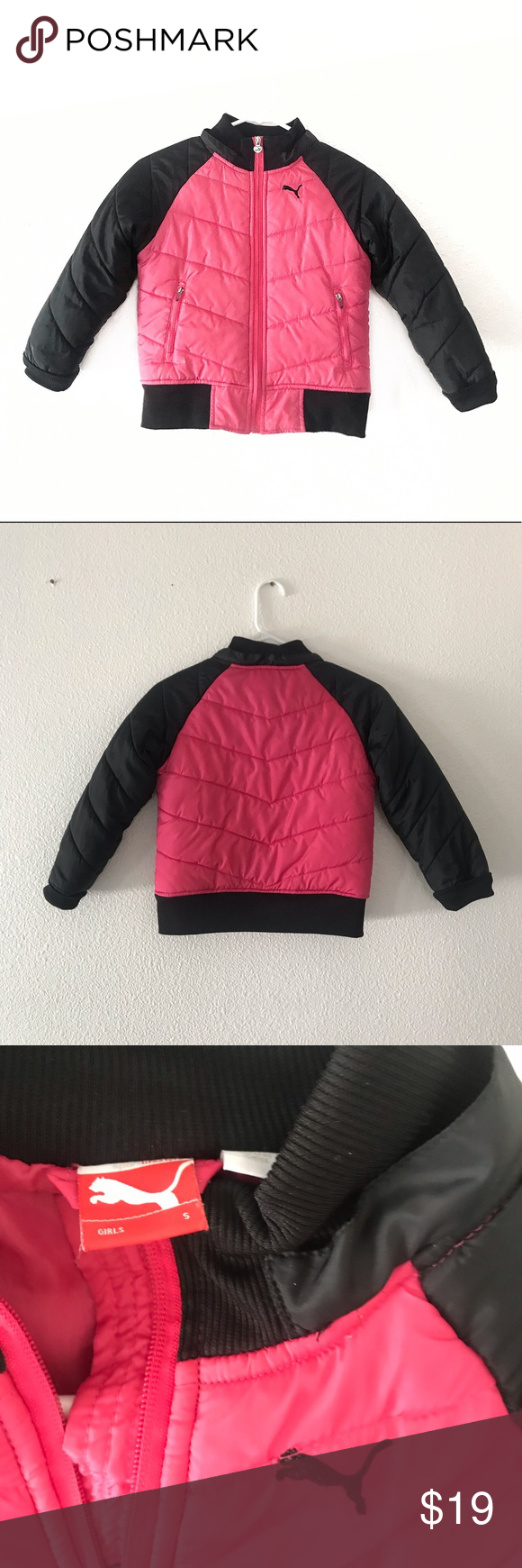 """290ad89612f4 Puma little girls colorblock puffer jacket small Puma little girls  colorblock puffer jacket small Pit to pit 17"""" Raglan Sleeve 22"""" Length 19""""  Good clean ..."""
