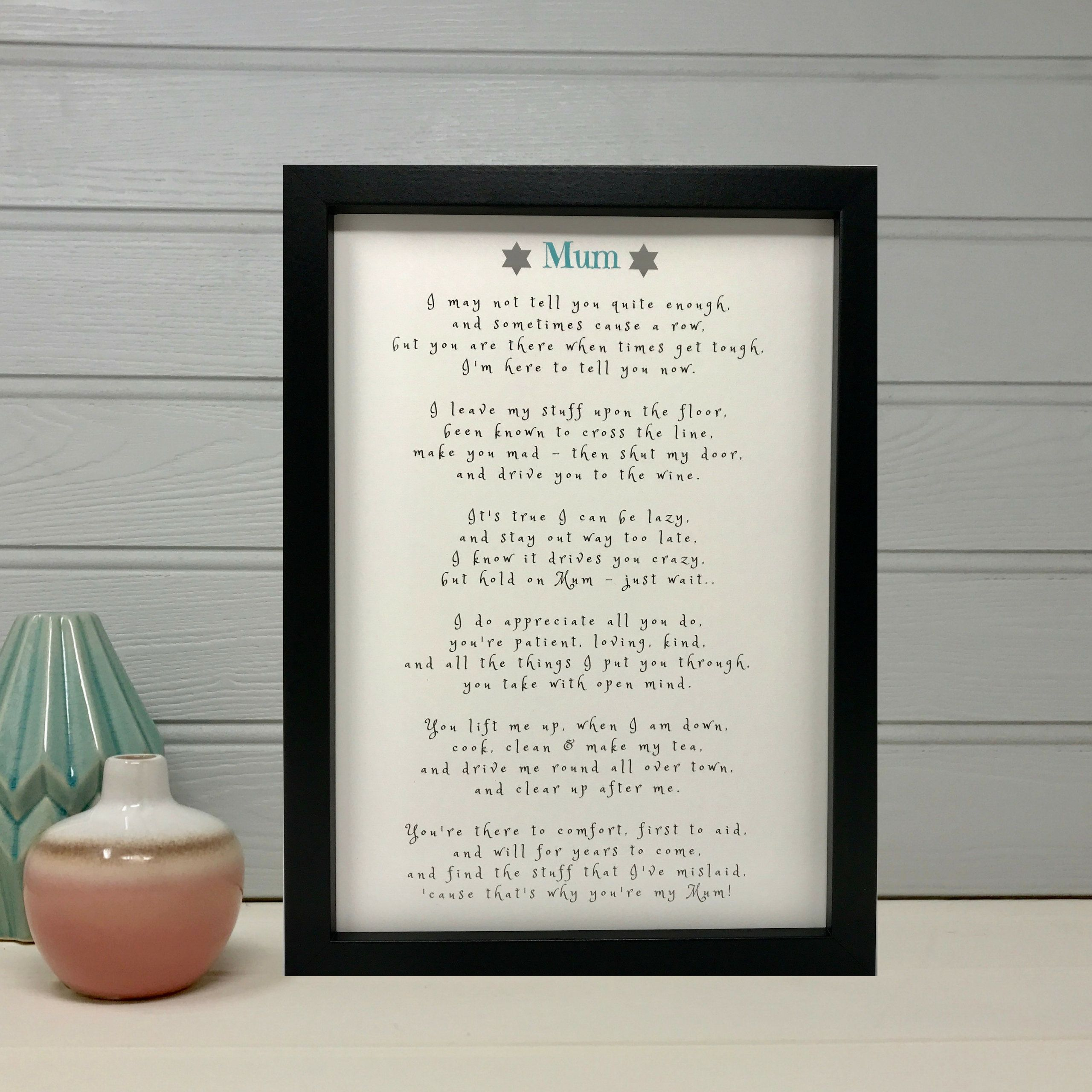 Mothers Day Gift Personalised Poem For Mummy Christmas Keepsake A4 Birthday