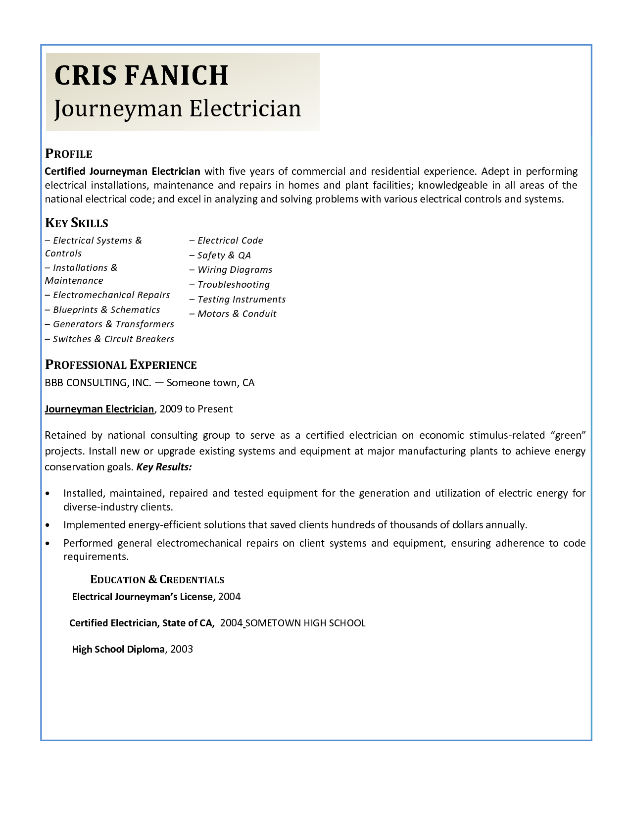 Electrician Resume Electrical Power Distribution Cover Letter Free Engine Journeyman