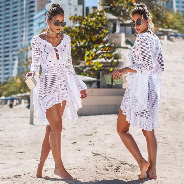 $32.3 – 2019 Crochet White Knitted Beach Cover up dress Tunic Long Pareos Bikinis Cover ups S…