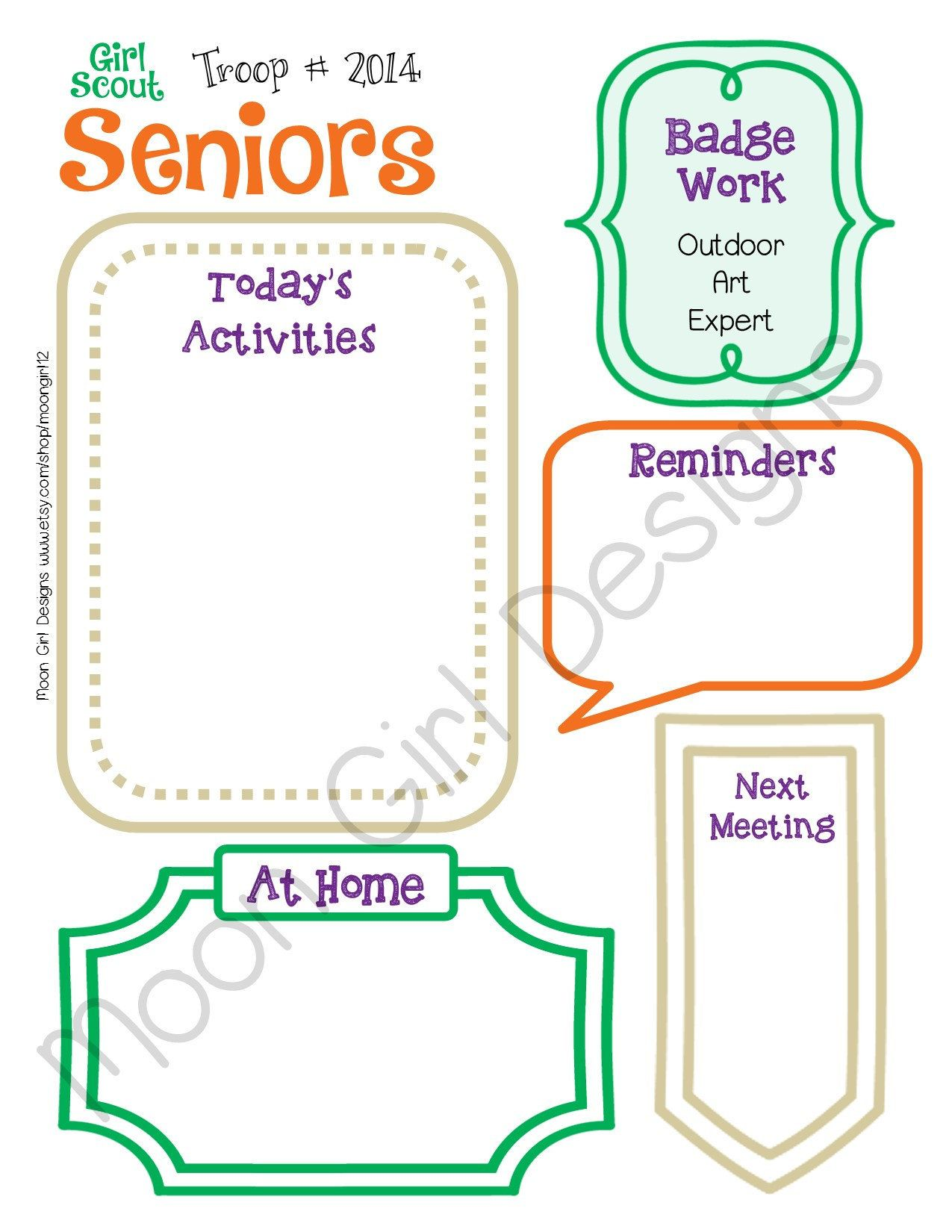 Senior Meeting Activity Planner Girl Scouts Editable
