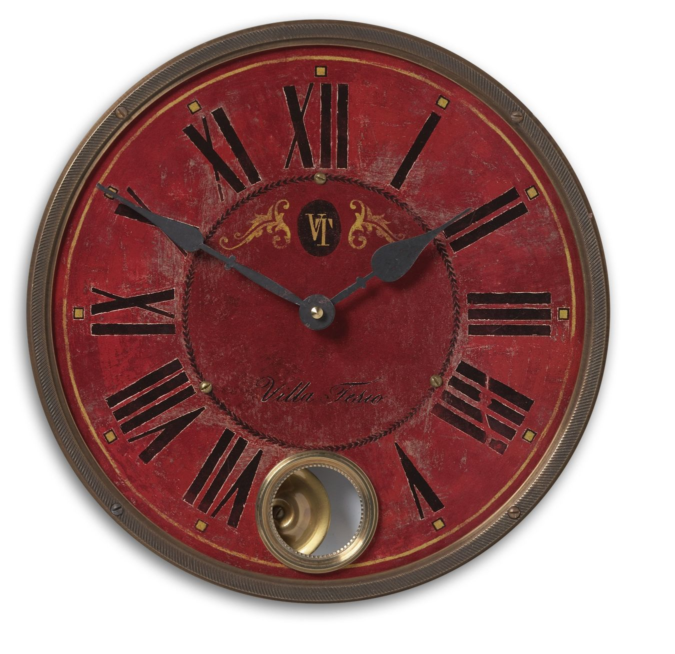 Uttermost Villa Tesio 11 Red Wall Clock