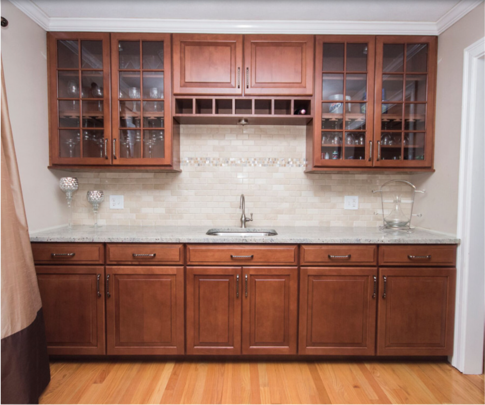 Maple Cabinet wet bar, Maple cabinets, White granite ... on Maple Cabinets With White Granite Countertops  id=50632
