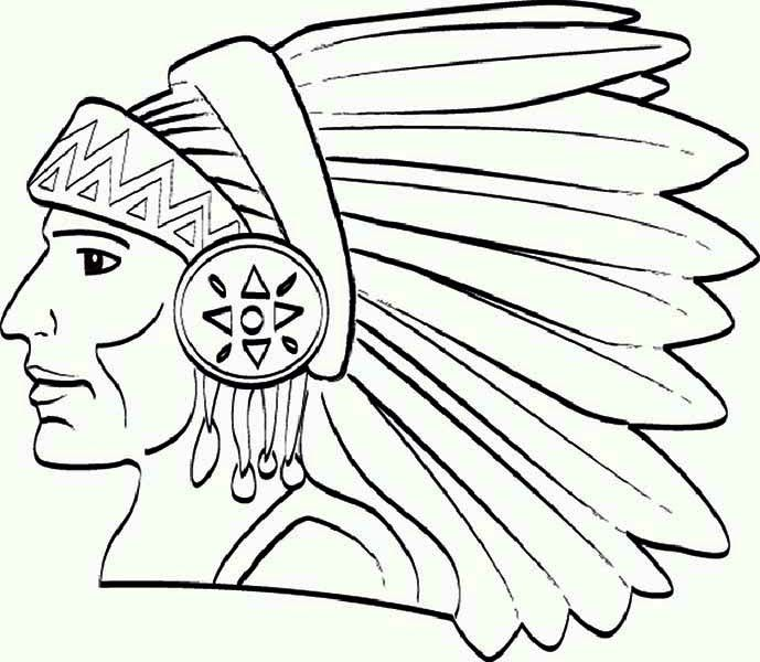 Little Native American Girl On Day Coloring Page