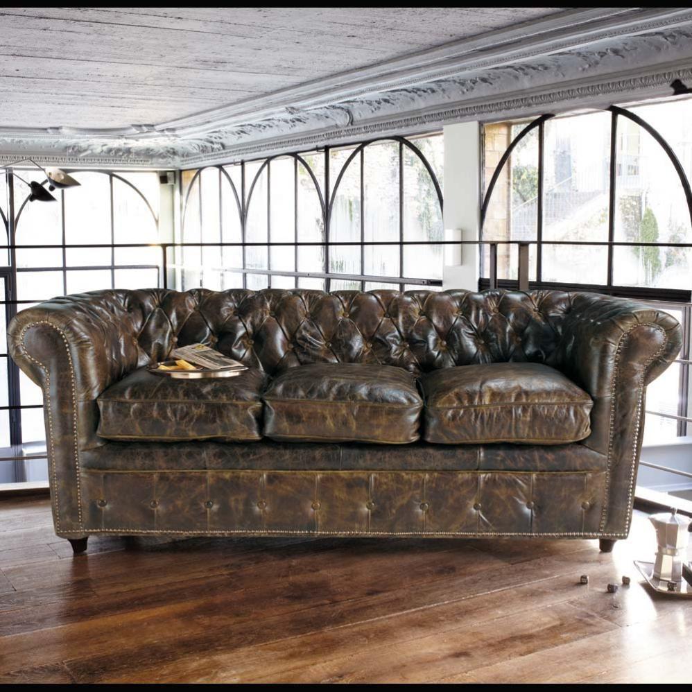 canap vintage 3 places en cuir capitonn choses acheter canap chesterfield chesterfield. Black Bedroom Furniture Sets. Home Design Ideas