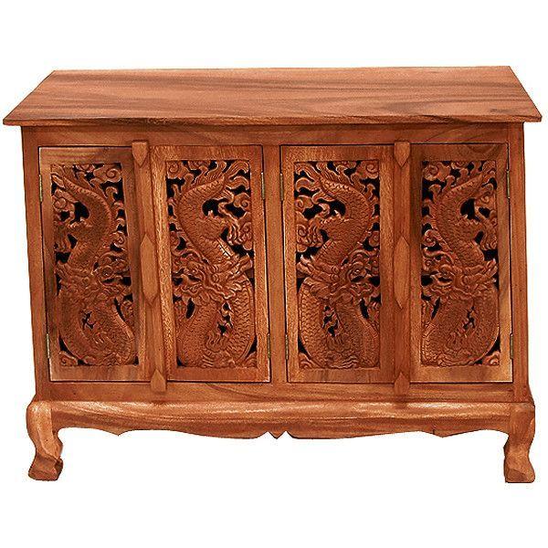 Handmade Acacia Oriental Dragons Storage Accent Cabinet