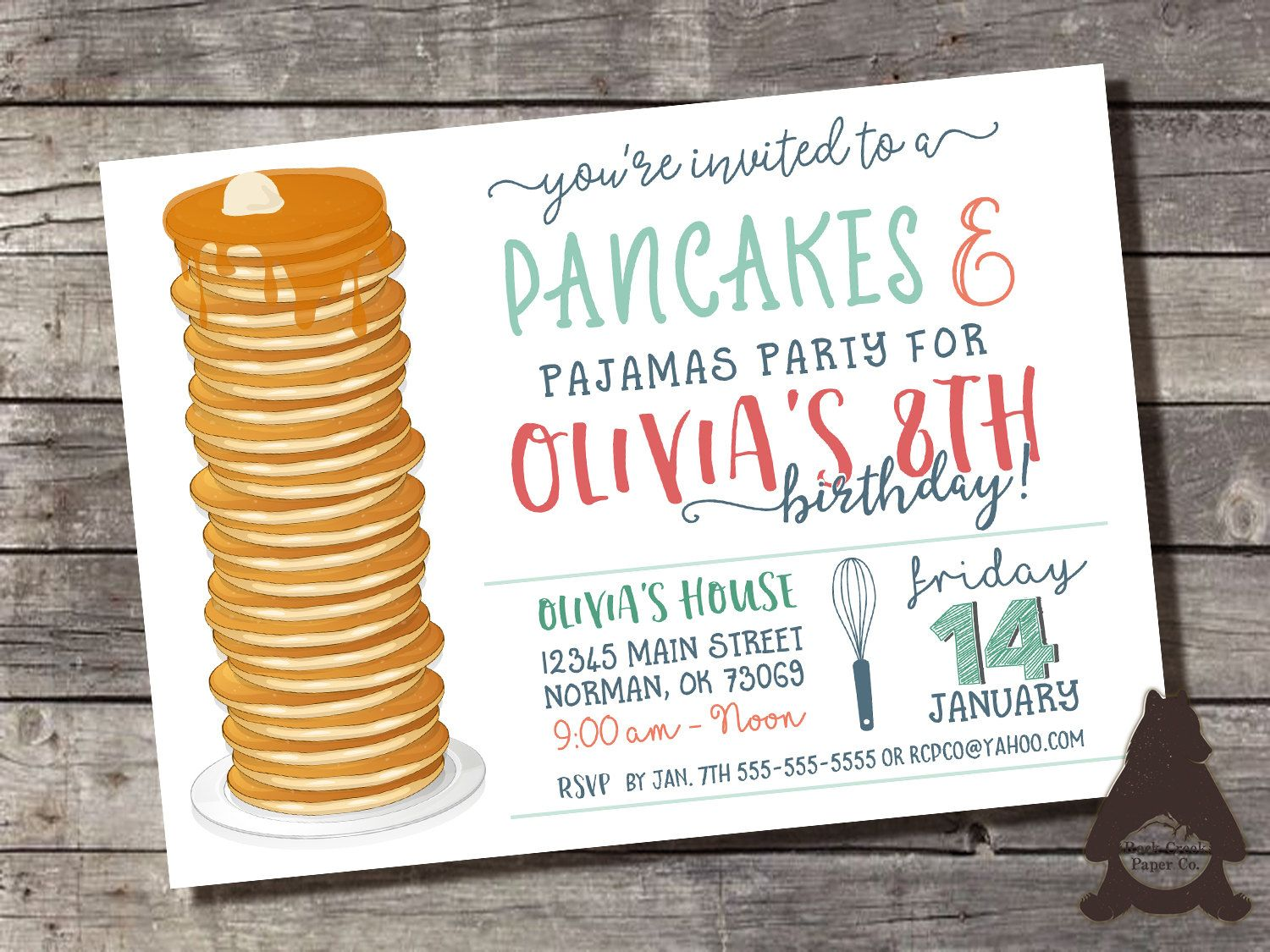 Pancakes Pajamas Invitation Pancakes and PJs Pancake Breakfast – Pancake Party Invitations