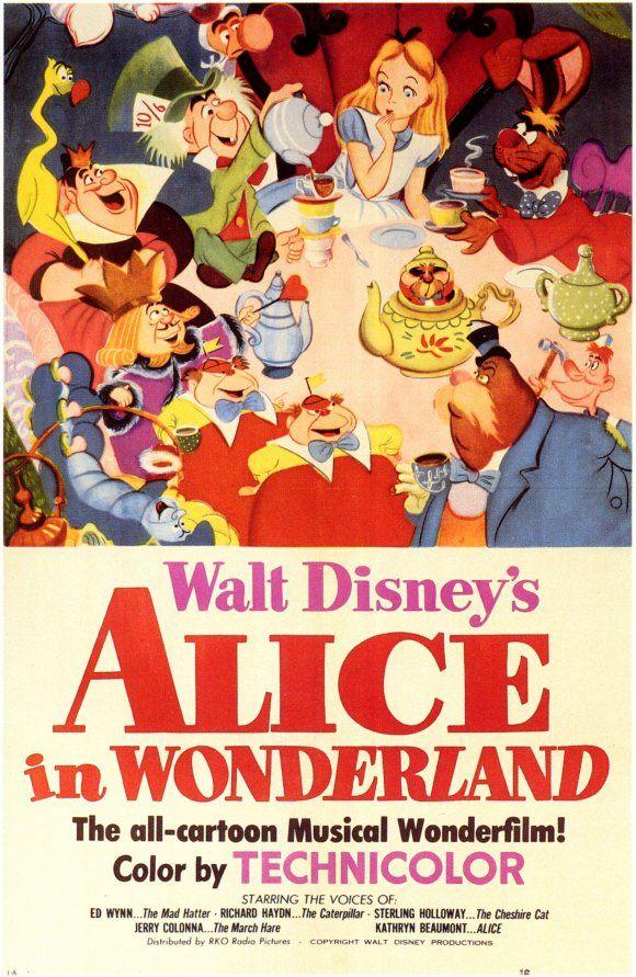Cine Clasico De Disney Alicia En El Pais De Las Maravillas Animated Movie Posters Alice In Wonderland Poster Walt Disney Animated Movies