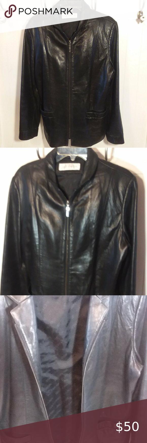 Jones New York Woman S Black Leather Jacket Sz L Black Leather Jacket Leather Jacket Jones New York [ 1740 x 580 Pixel ]