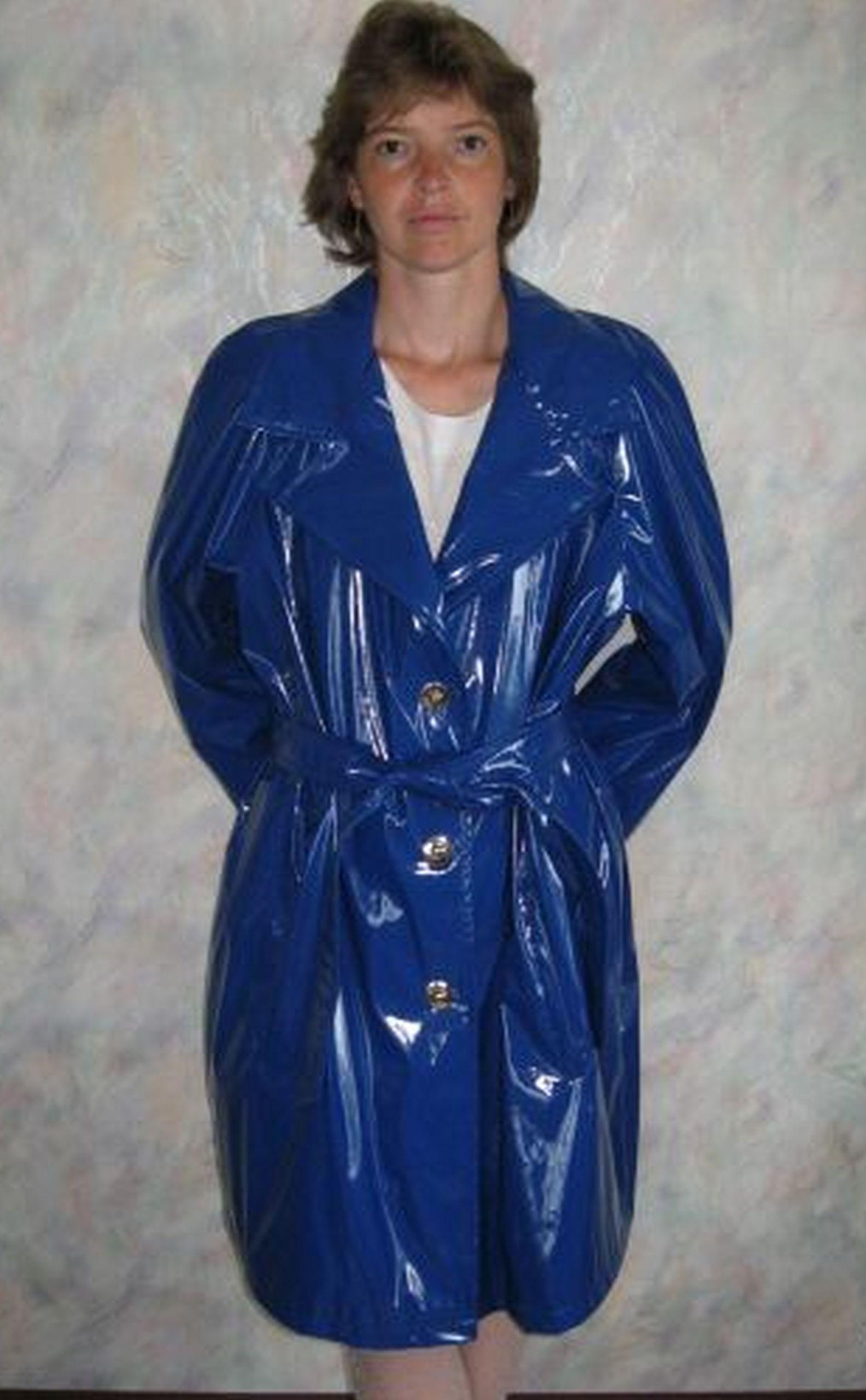 Shiny blue PVC Rainjacket