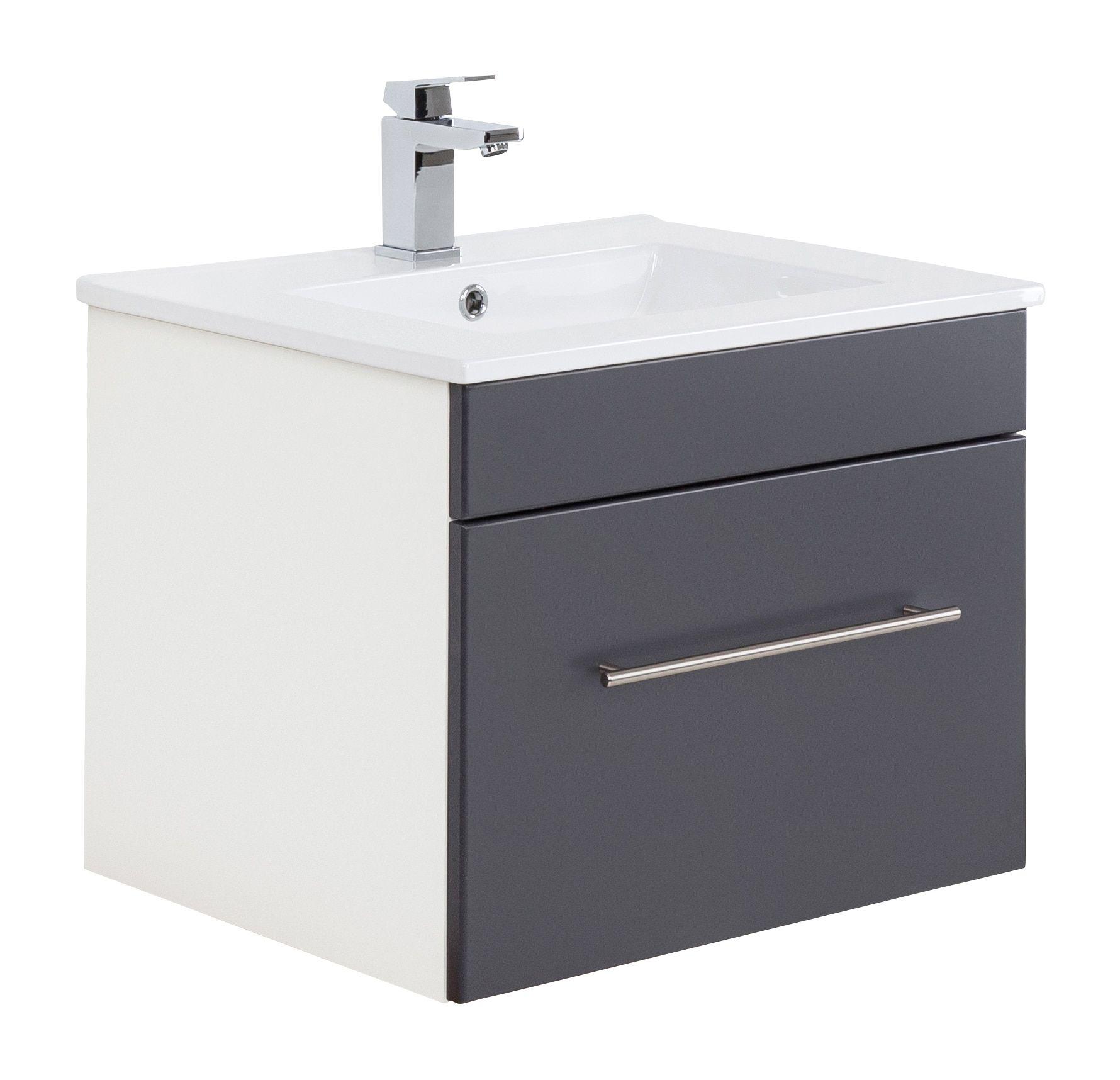 Badmobel Santini 60 Anthrazit Seidenglanz Waschbecken Waschbecken 50 Cm Unterschrank