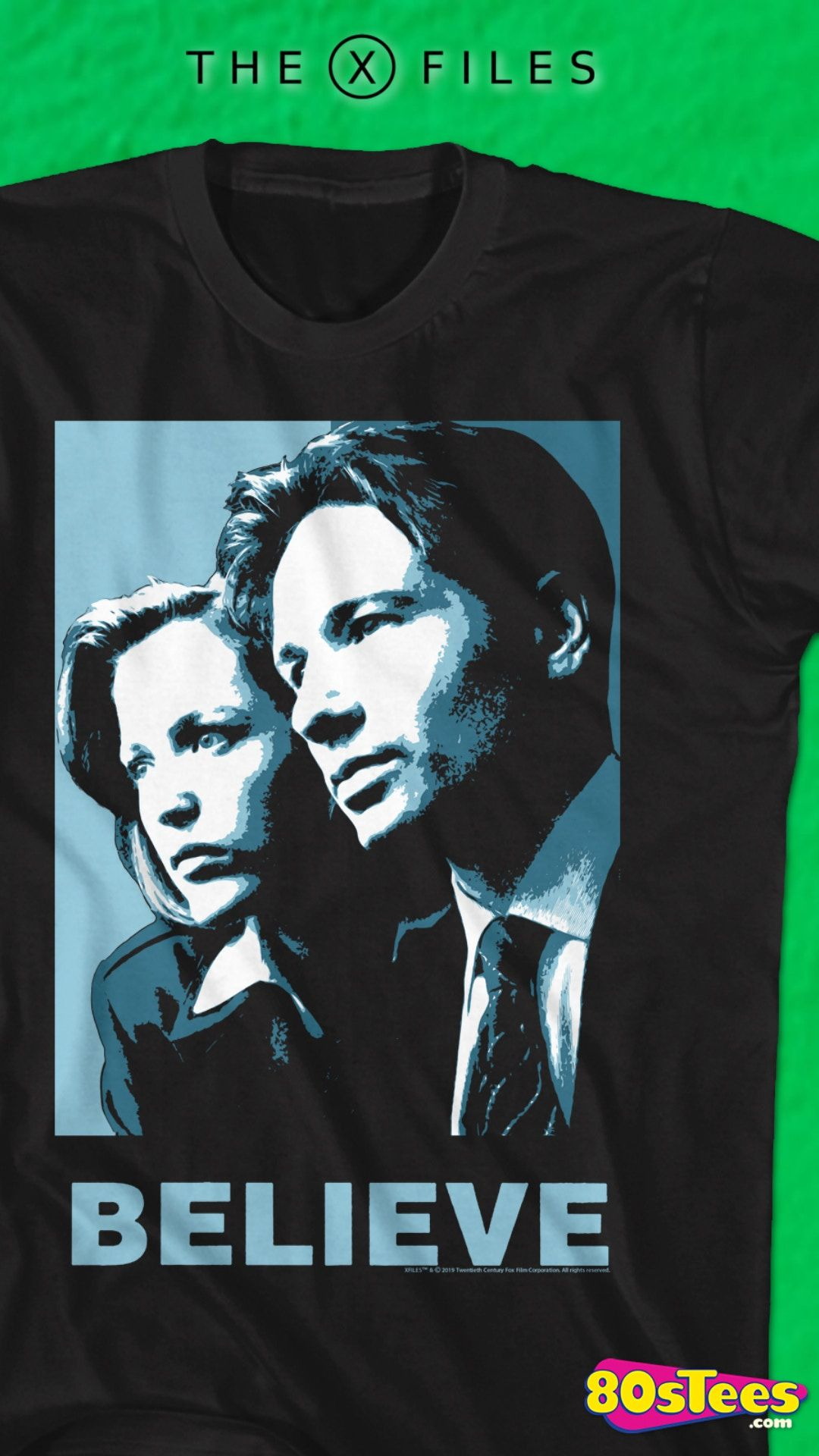 This Scully and Mulder Believe X-Files T-Shirt features an image of