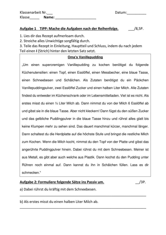 Klassenarbeit Klasse 6 7 Vorgangsbeschreibung Und Aktiv Passiv Unterrichtsmaterial Im Fach Deutsch In 2020 Klassenarbeiten Vorgangsbeschreibung Erste Klasse