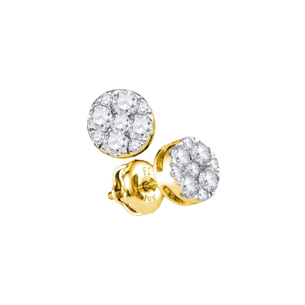 14kt Yellow Gold Womens Round Diamond Flower Cluster Stud Earrings 1/2 Cttw 107406